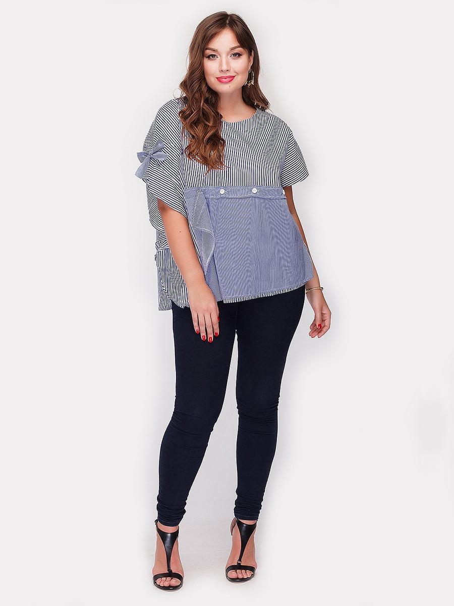 Блуза синяя в полоску | 3802346