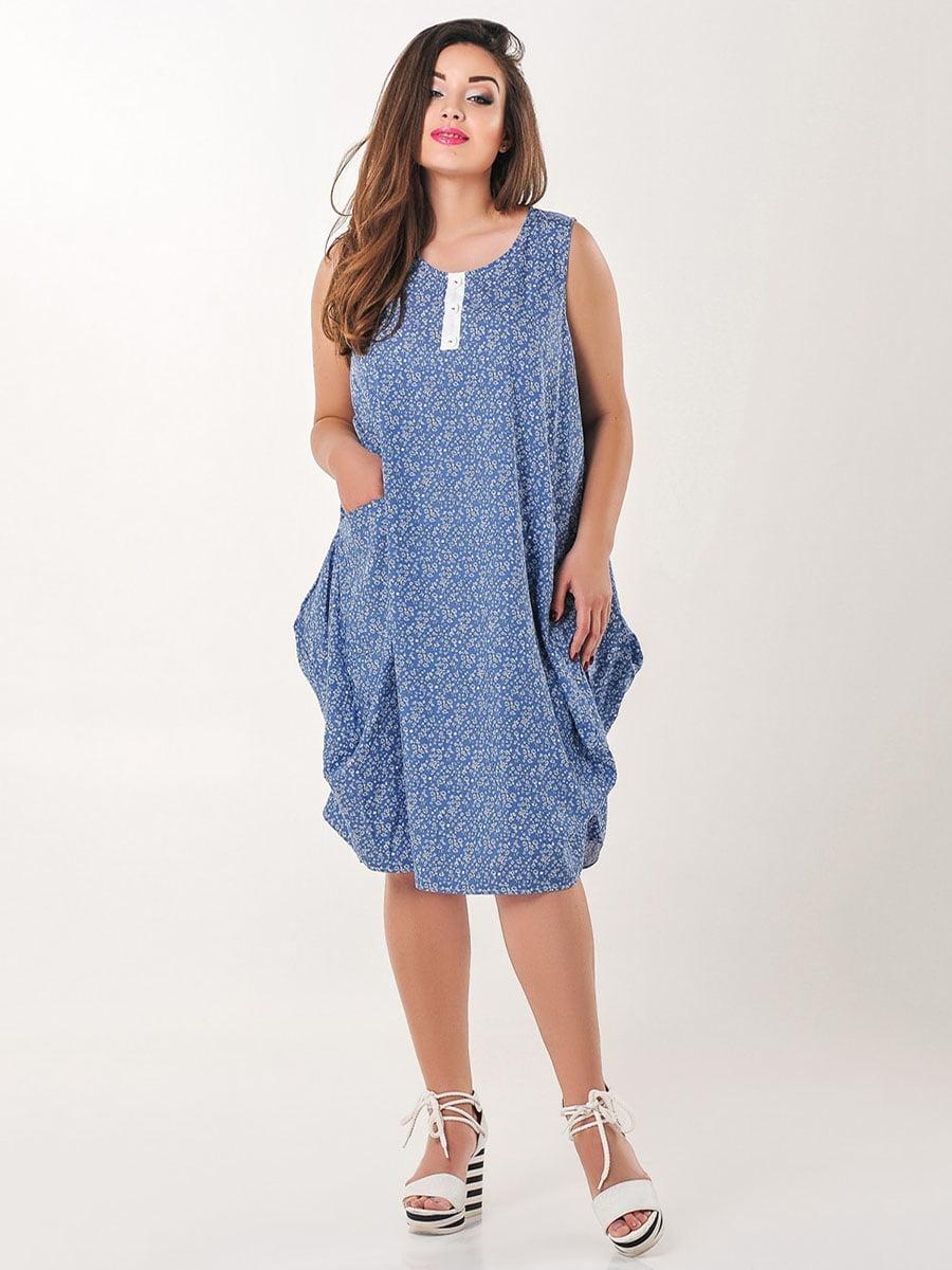 Платье голубое с принтом | 4238977