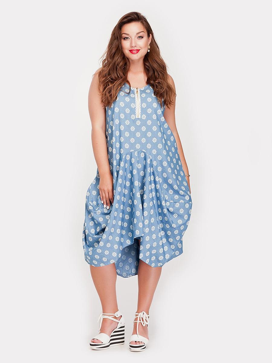 Платье голубое в цветочный принт   4345342