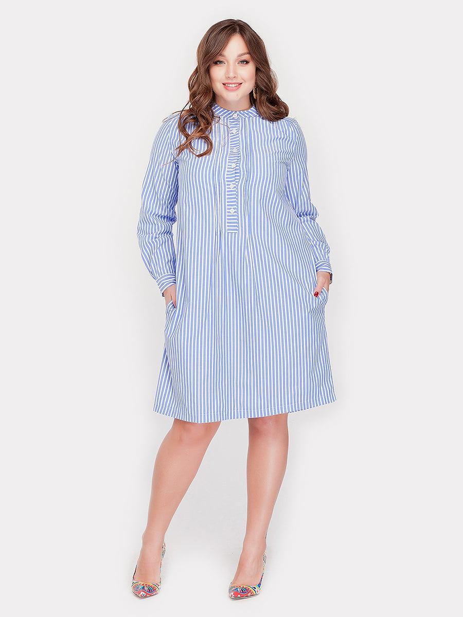 Платье голубое в полоску | 4388700