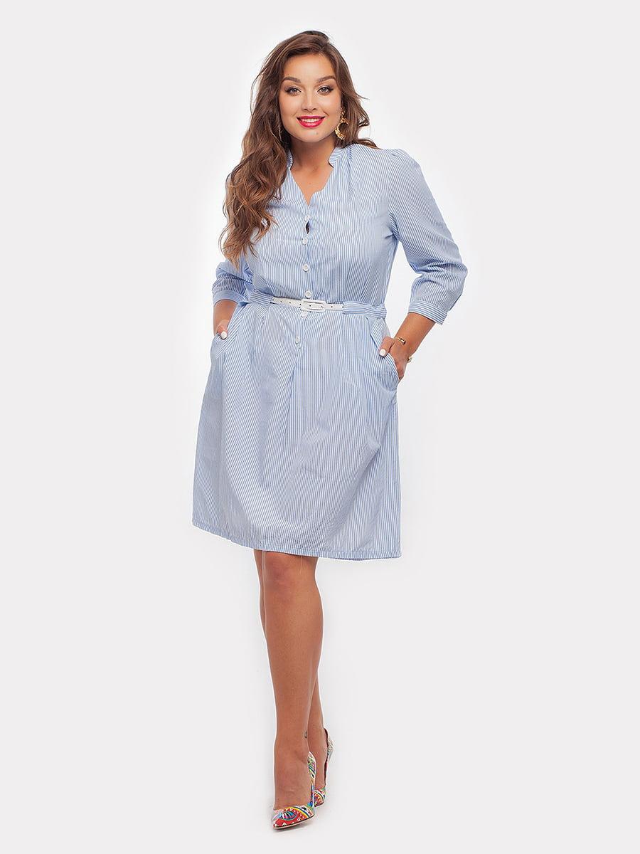 Платье голубое в полоску | 4396051