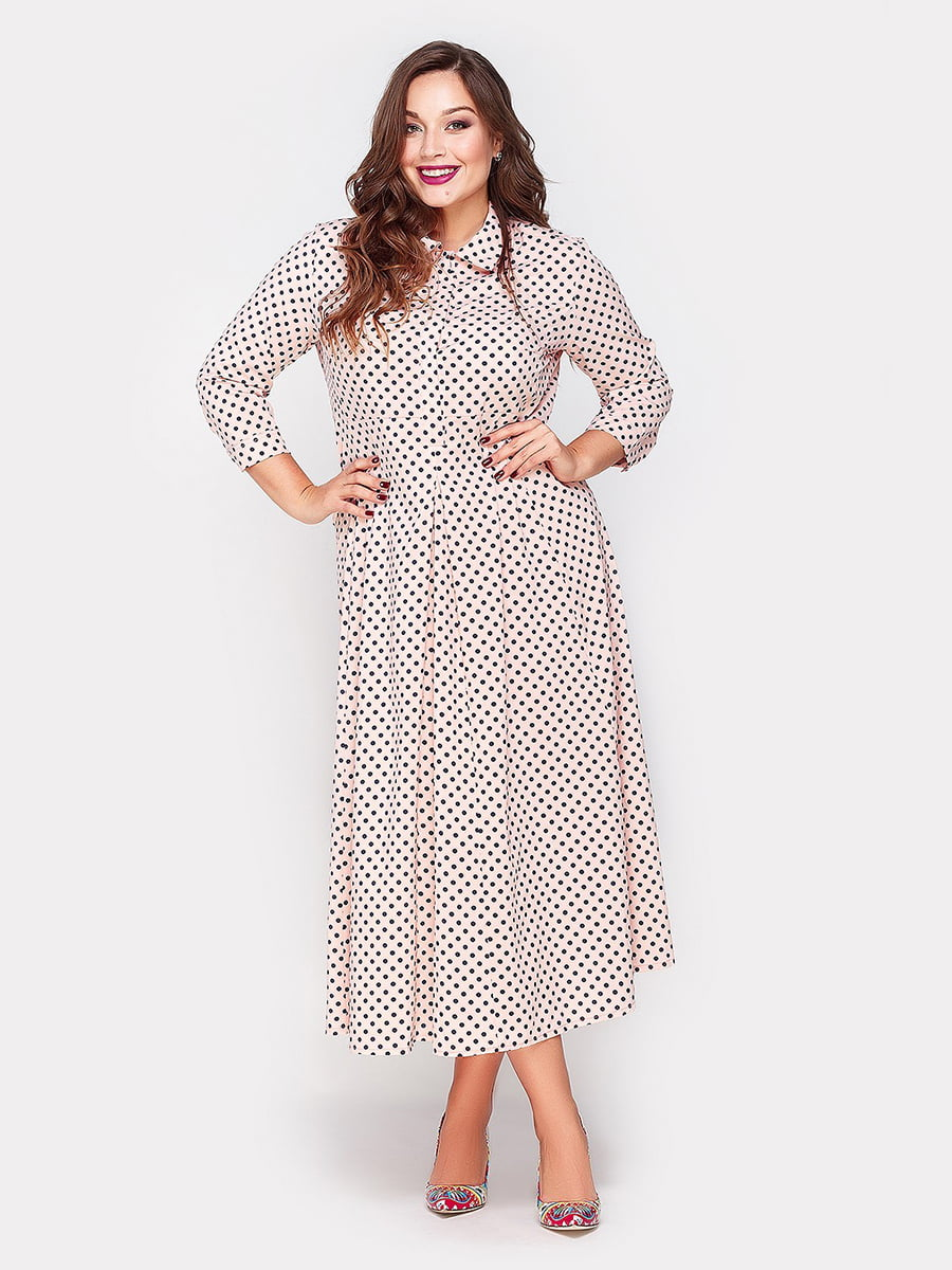 Платье персикового цвета в горошек | 4665223