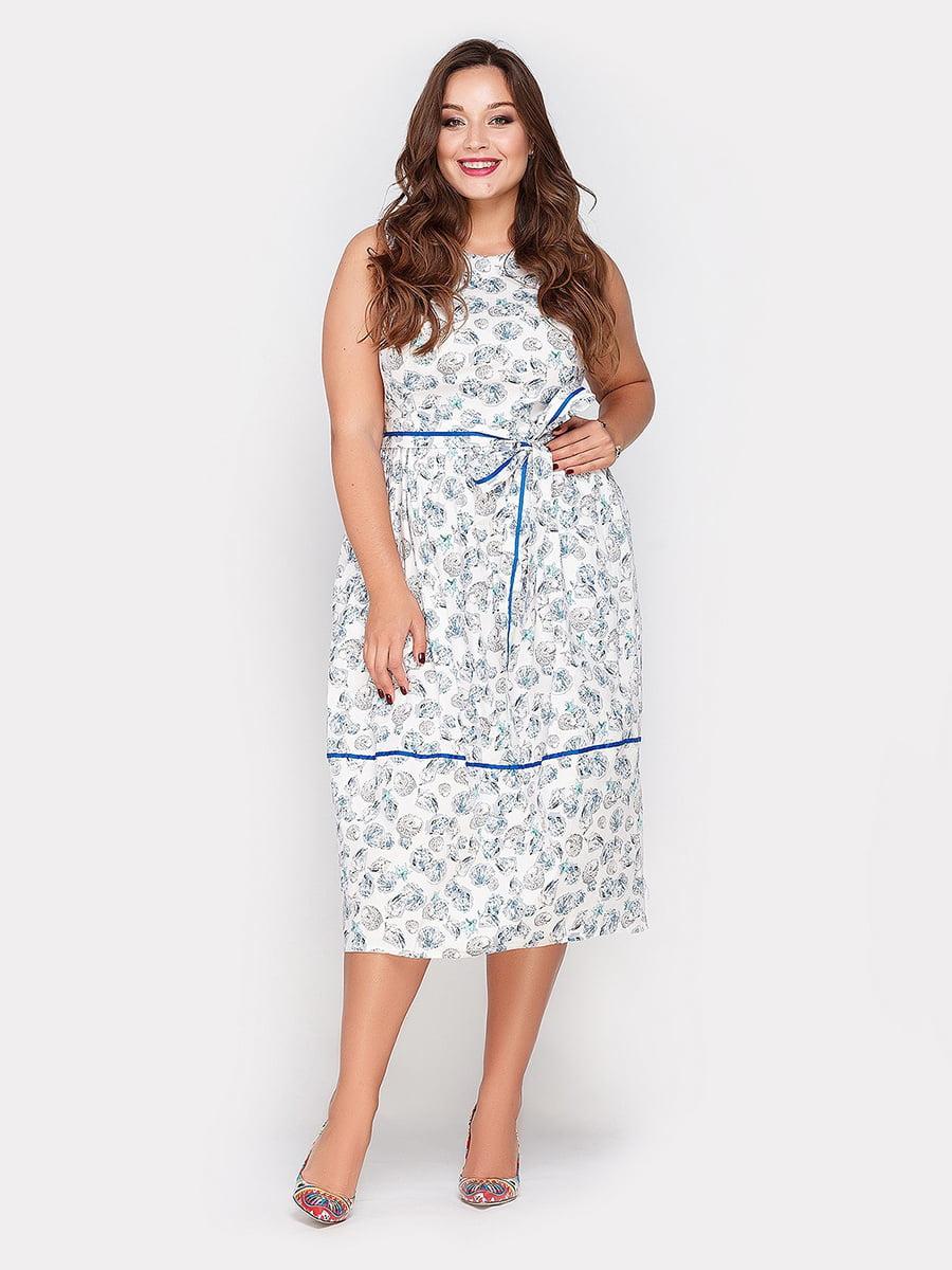 Платье белое в принт | 5039497