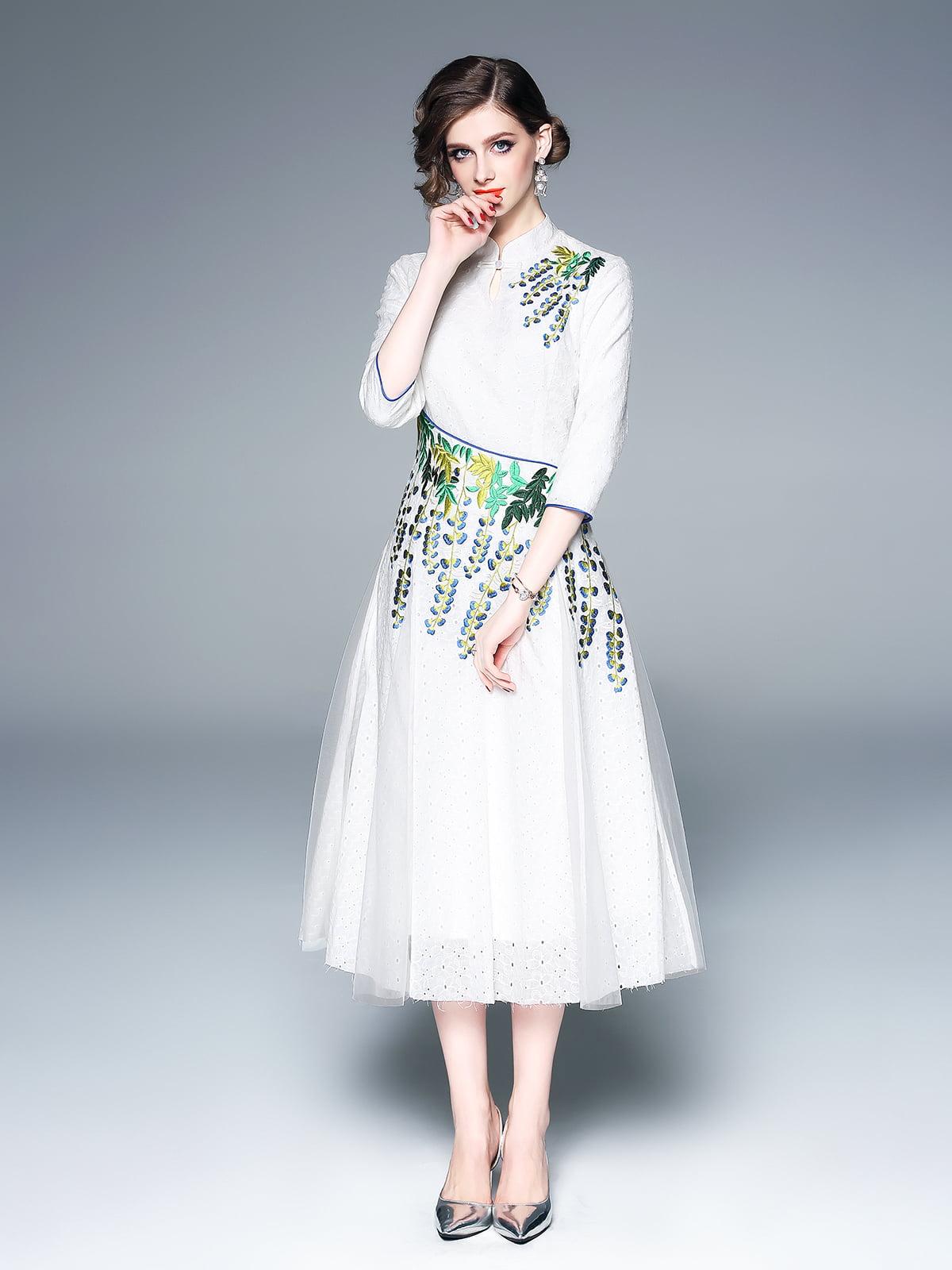 Платье бело-зеленое | 5155213