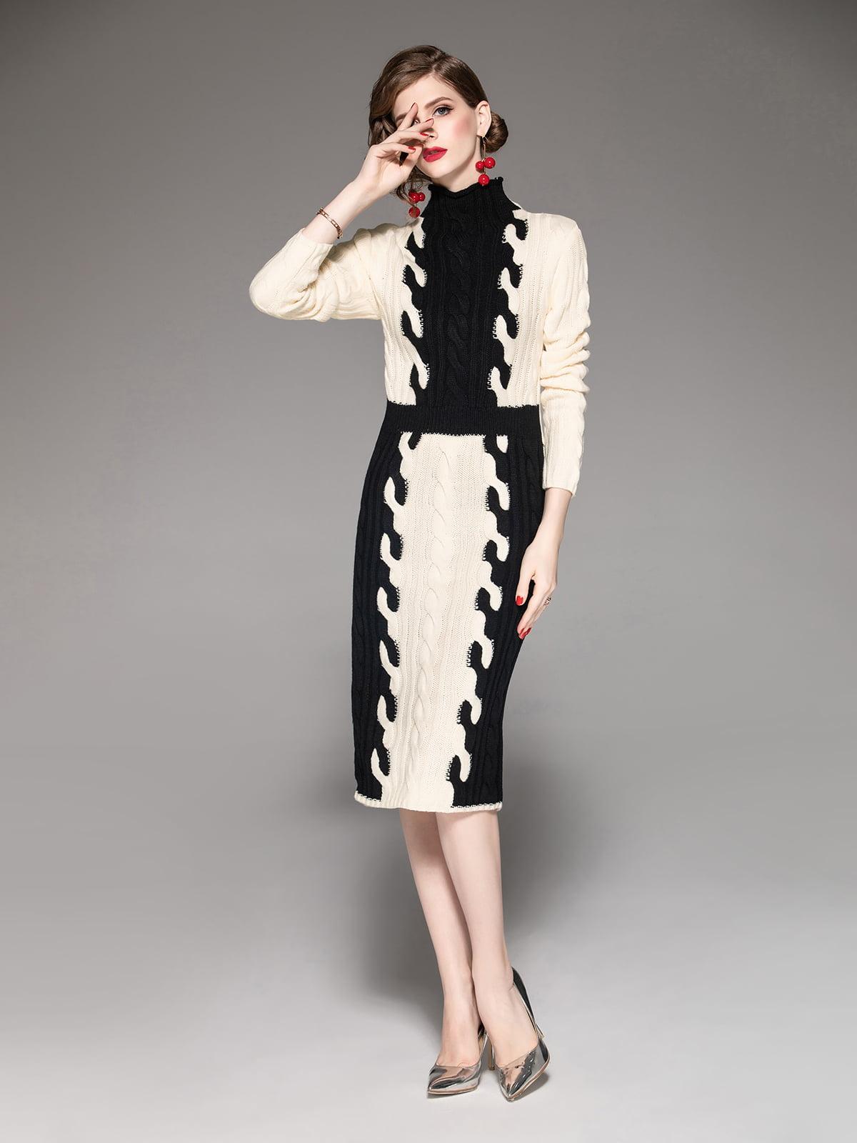 Платье кремово-черное | 5155248