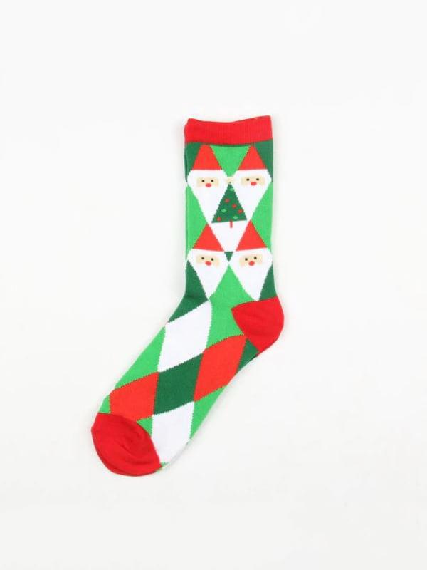 Шкарпетки зелені в принт | 4782337