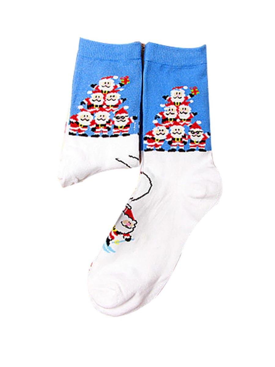 Носки голубые в принт   4782340