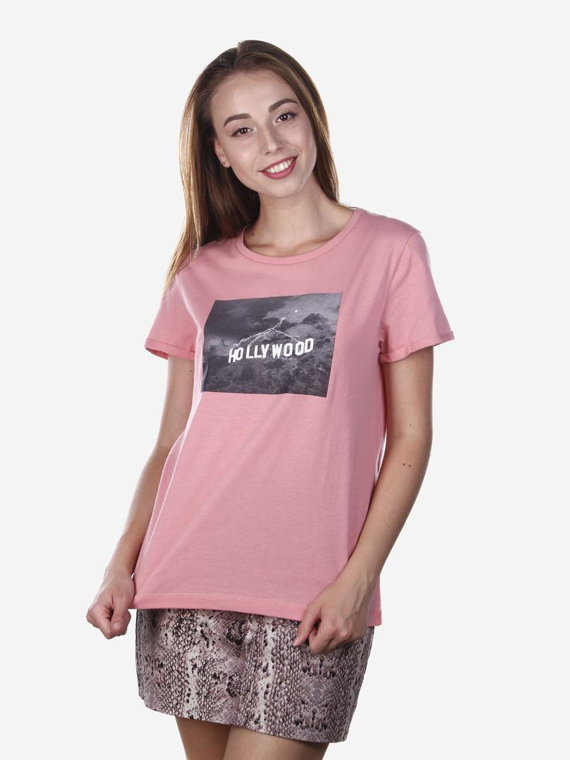 Футболка розовая с принтом | 5163106