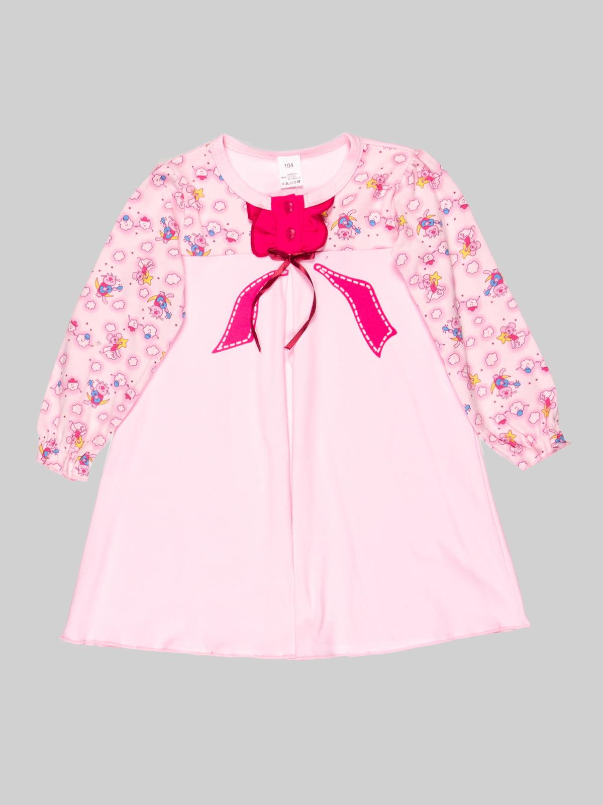 Сорочка нічна рожева в принт | 5163554