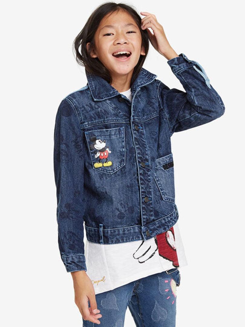 Куртка синя джинсова з принтом | 5162899