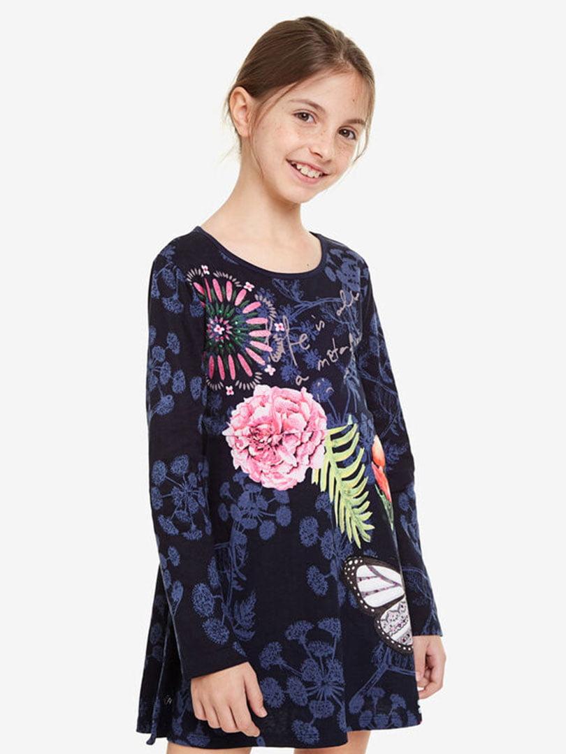 Сукня темно-синя з принтом | 5162916