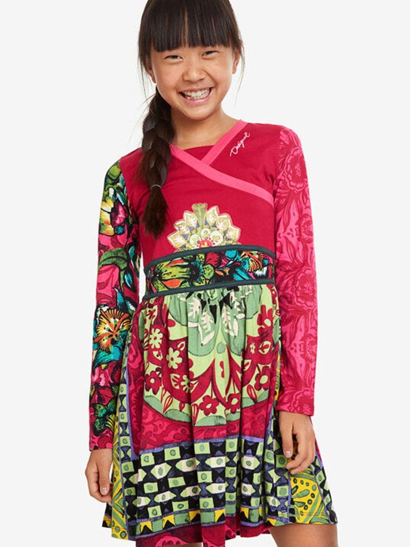 Сукня малинова з принтом | 5162917