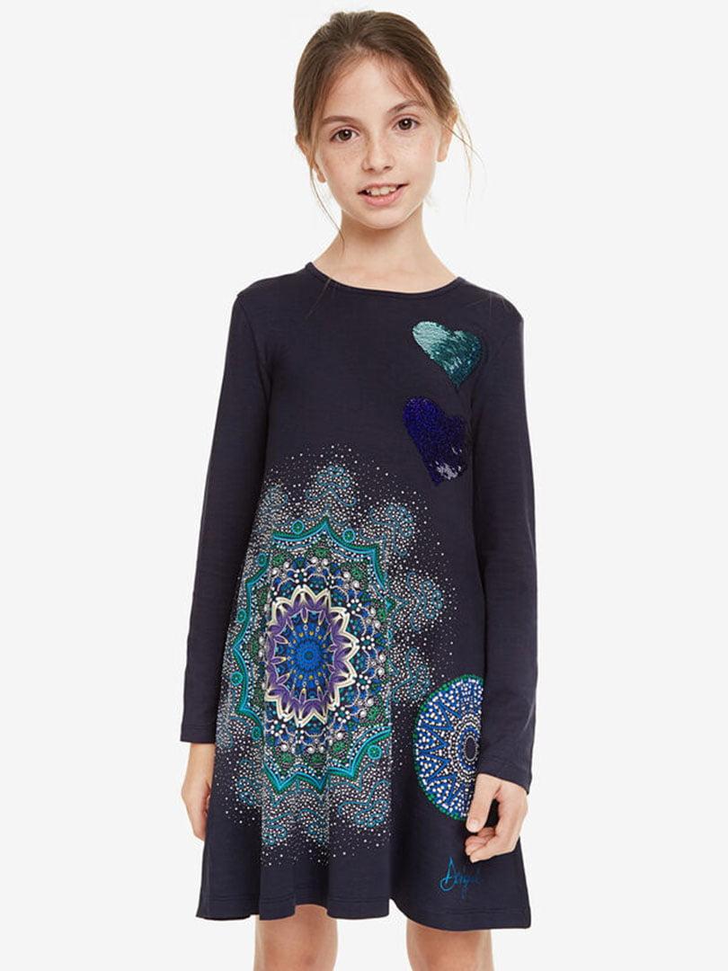 Сукня темно-синя з принтом   5162919