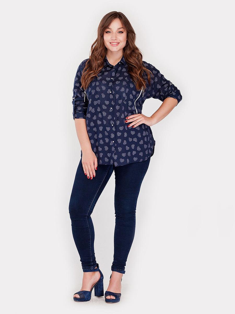 Рубашка темно-синяя с принтом | 5168679