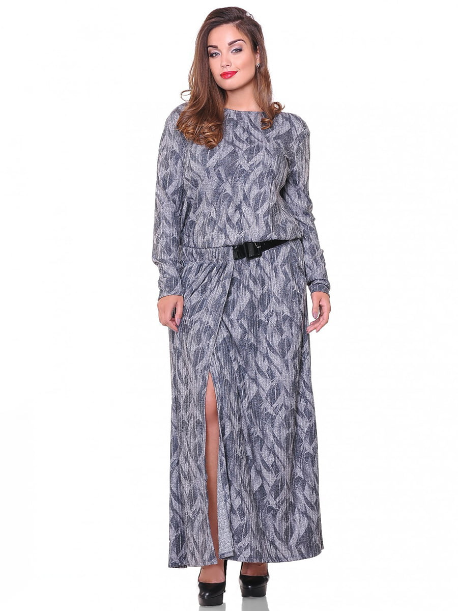 Платье серое в принт | 3747033