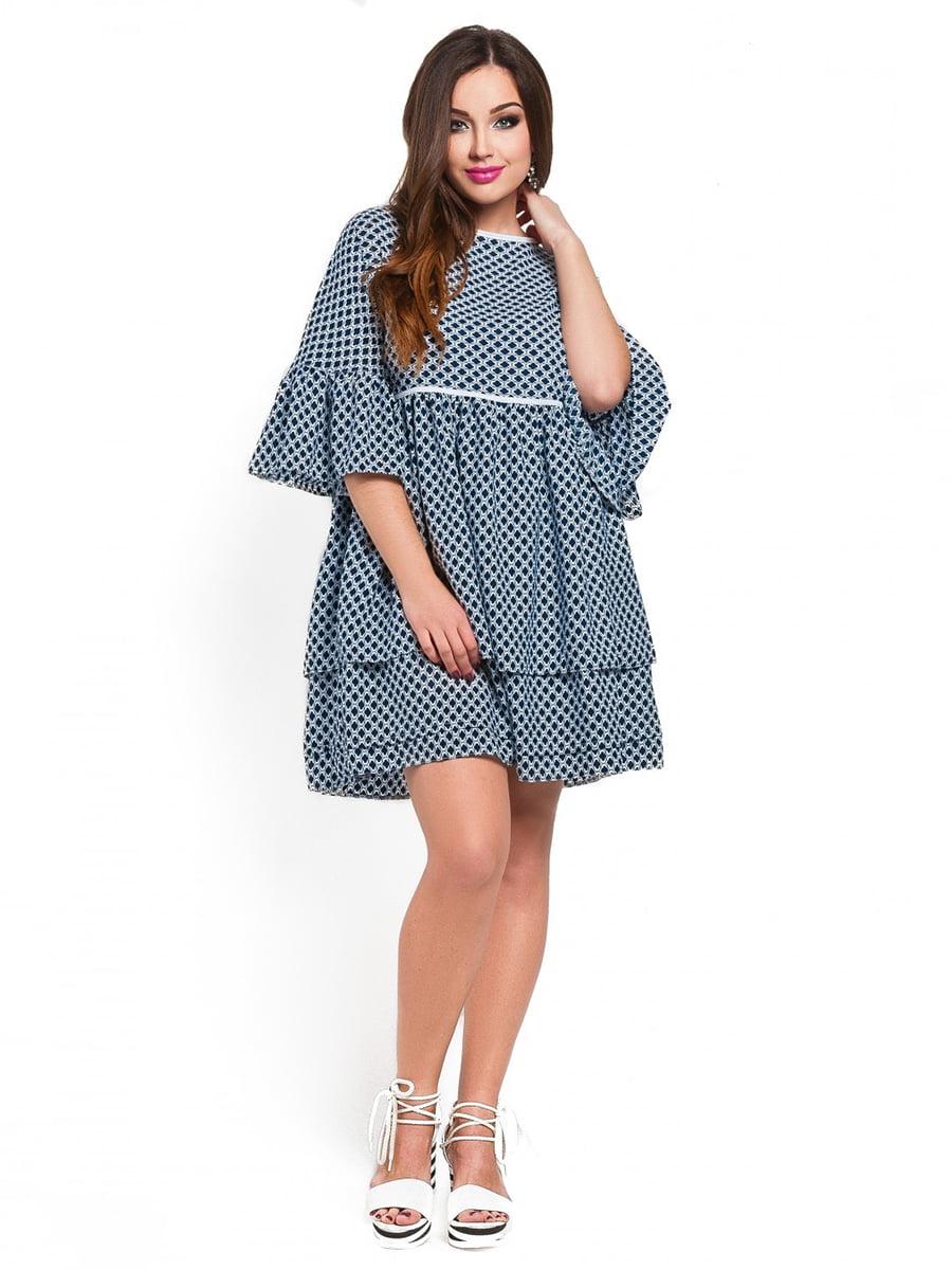 Платье синее в принт | 3778370