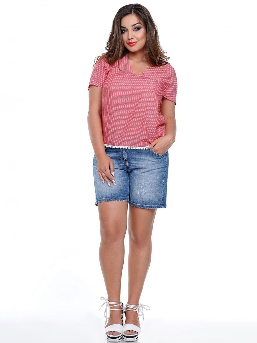Блуза розовая в полоску   3778397