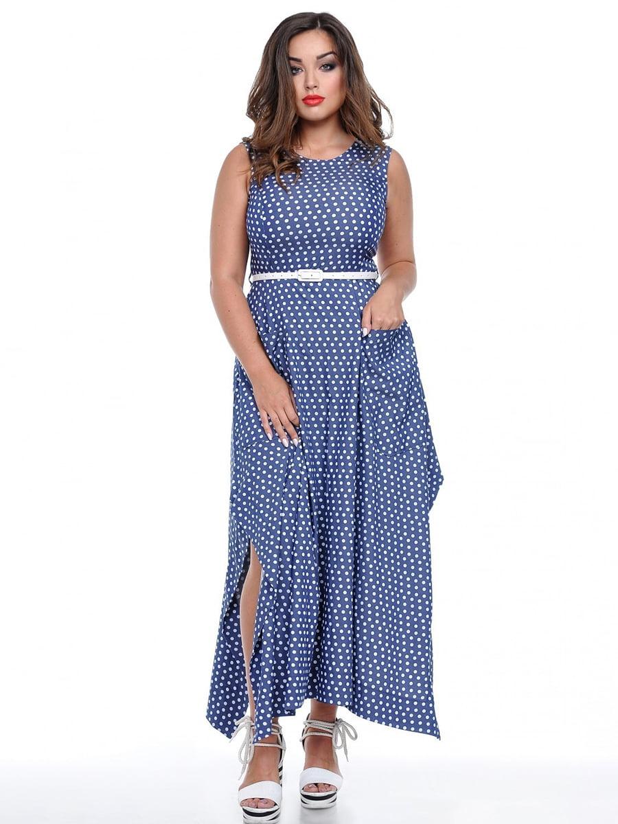 Платье темно-синее в горох | 3802394