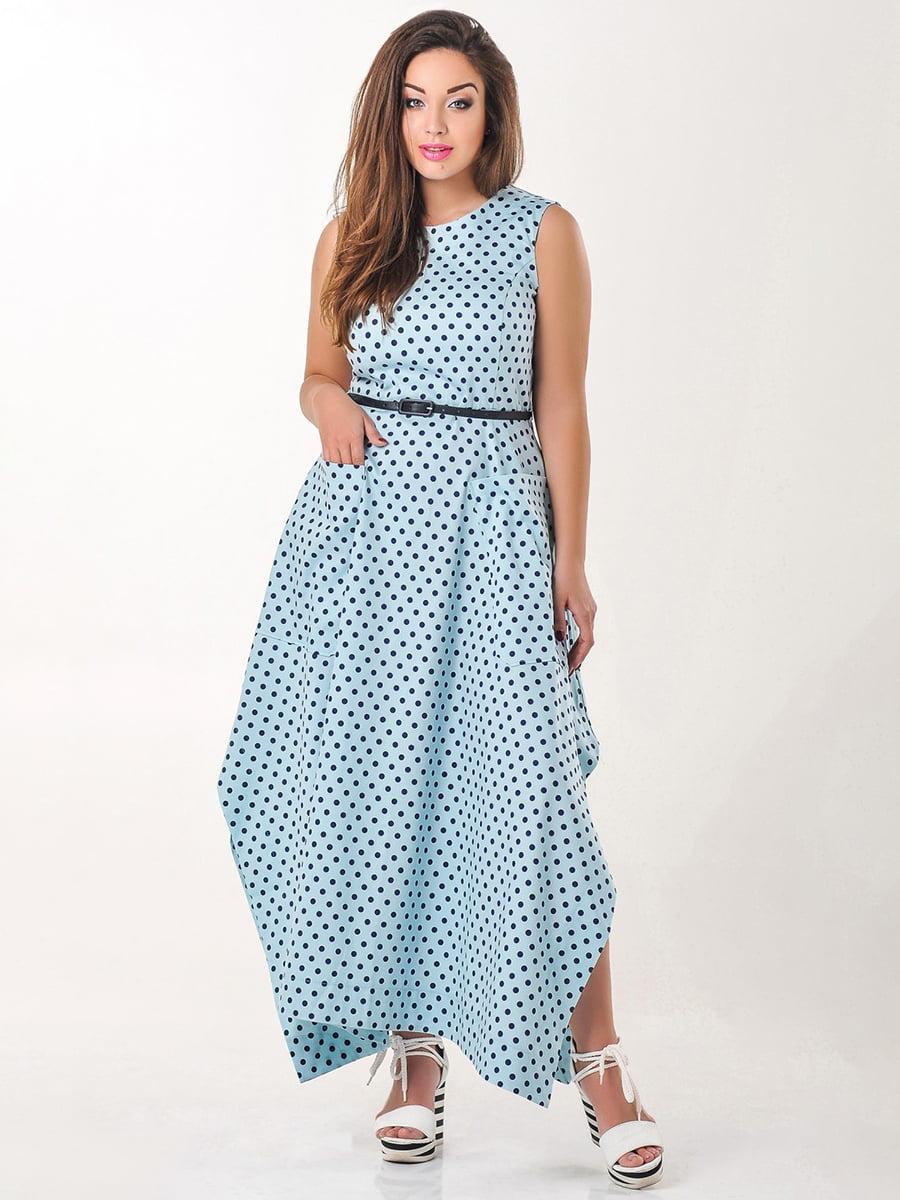 Платье голубое в горох | 4238975