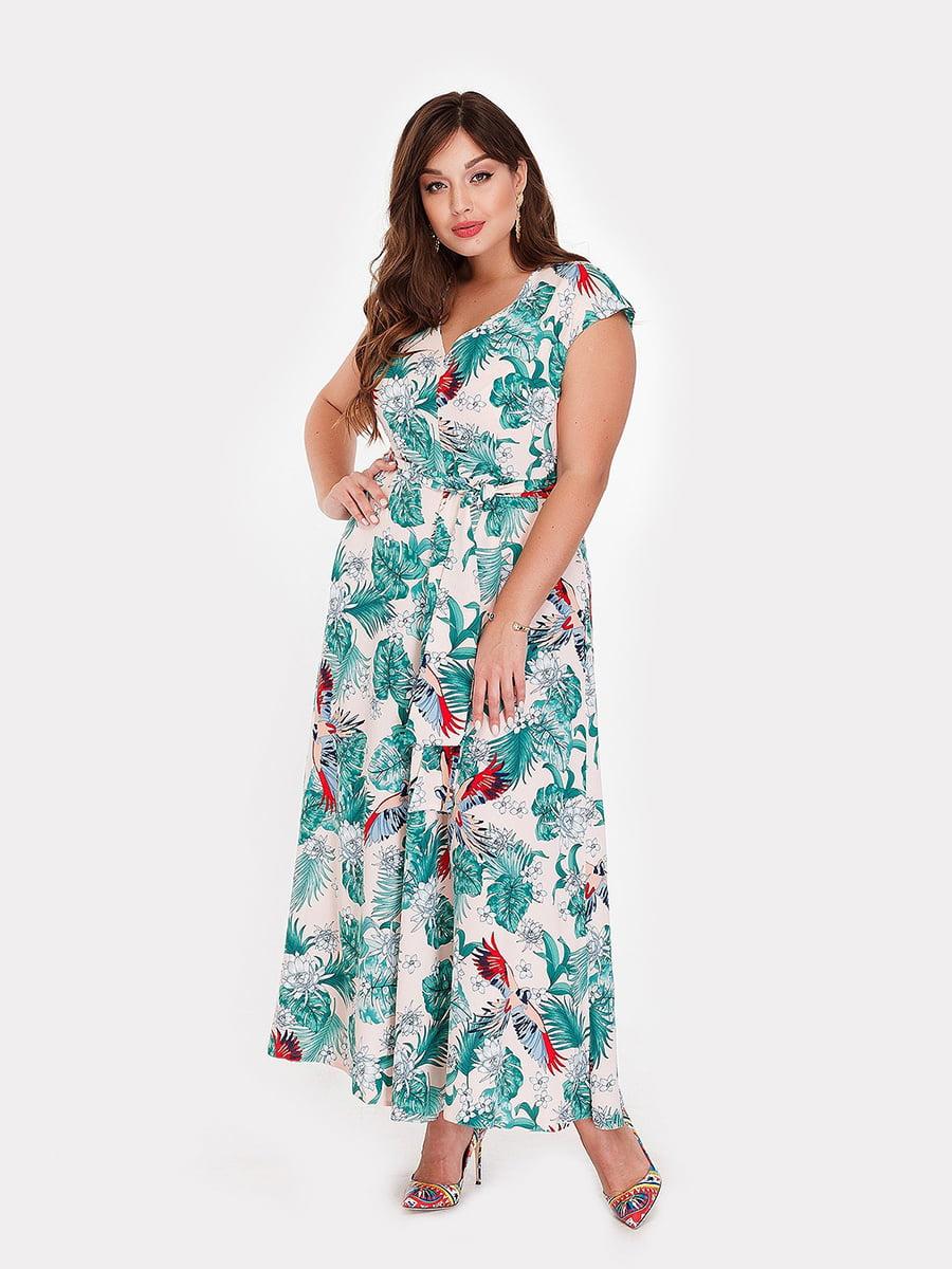 Платье разноцветное в цветочный принт   5105079