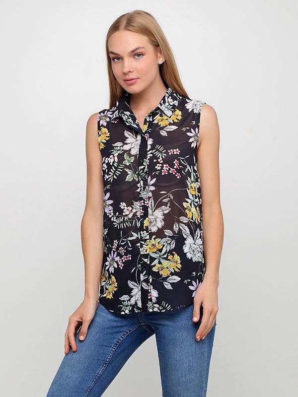 Блуза черная в цветочный принт | 5171299