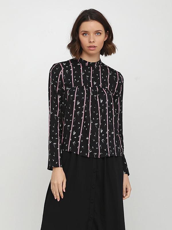 Блуза черная в принт | 5171433