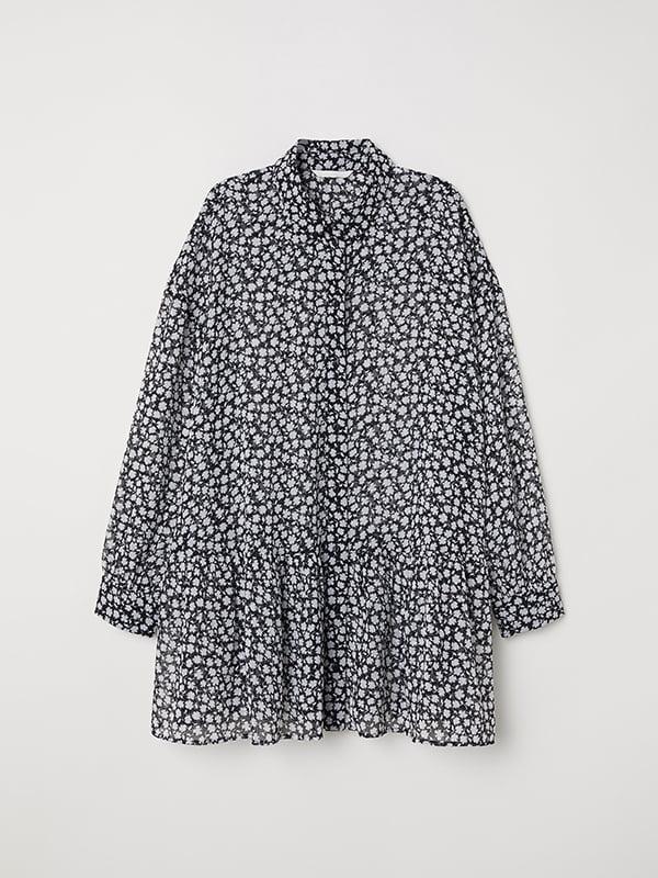 Блуза черная в принт | 5171468