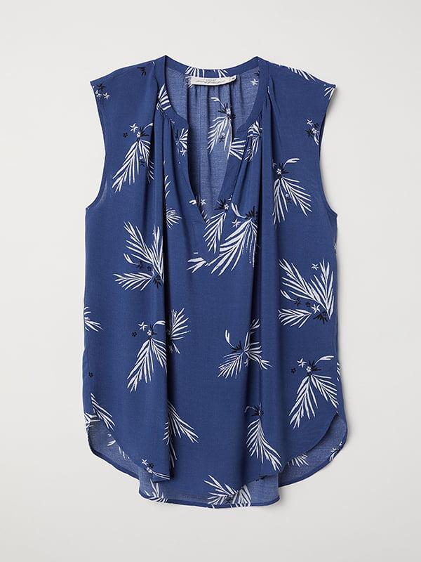 Блуза синя в принт | 5171493