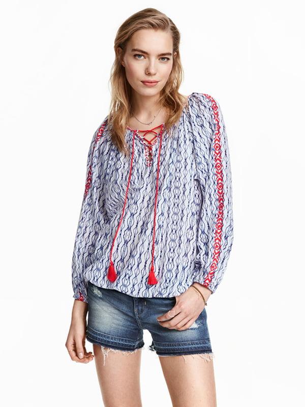 Блуза голубая в принт | 5171799