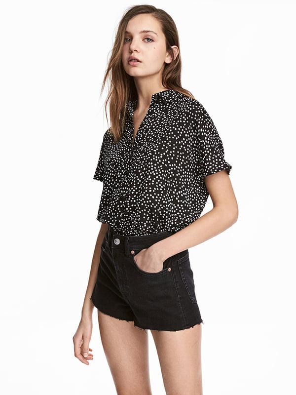 Блуза чорна в принт | 5172046