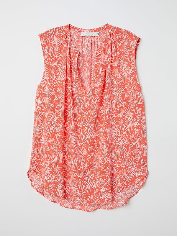 Блуза персикового кольору в принт | 5172800