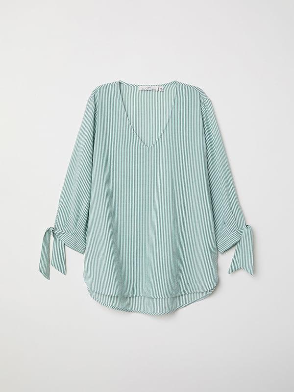Блуза зелено-біла в смужку   5172819