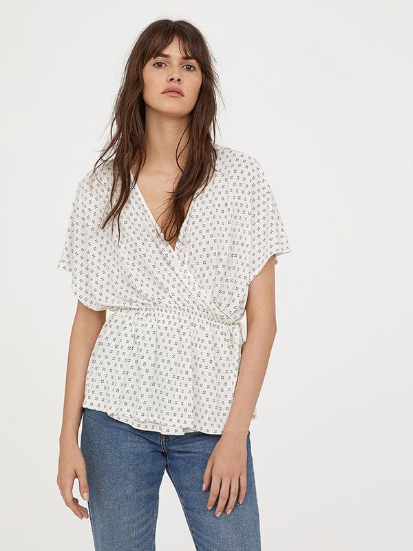 Блуза молочного кольору в принт | 5172843
