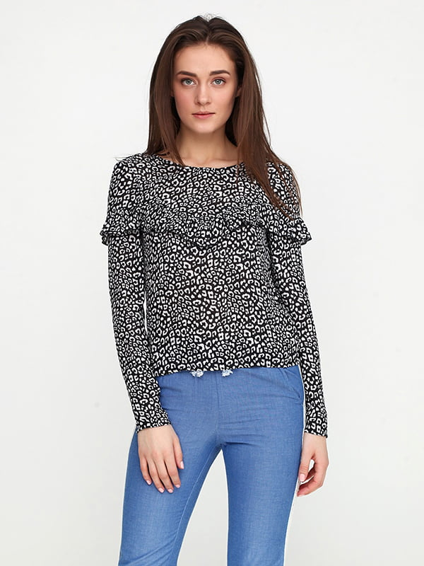 Блуза черная в принт | 5173084