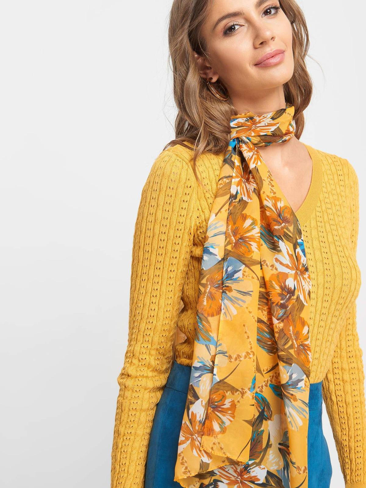 Шарф желтый с цветочным принтом | 5168564