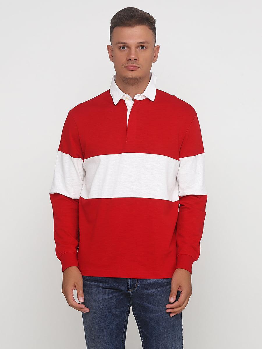 Лонгслив красно-белый | 5172846