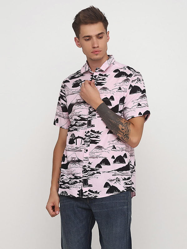 Рубашка розовая в принт | 5172779
