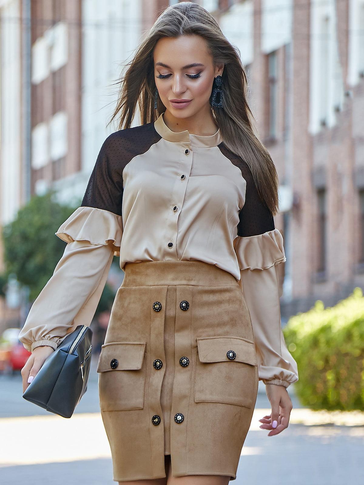 Блуза бежево-черная | 5178759
