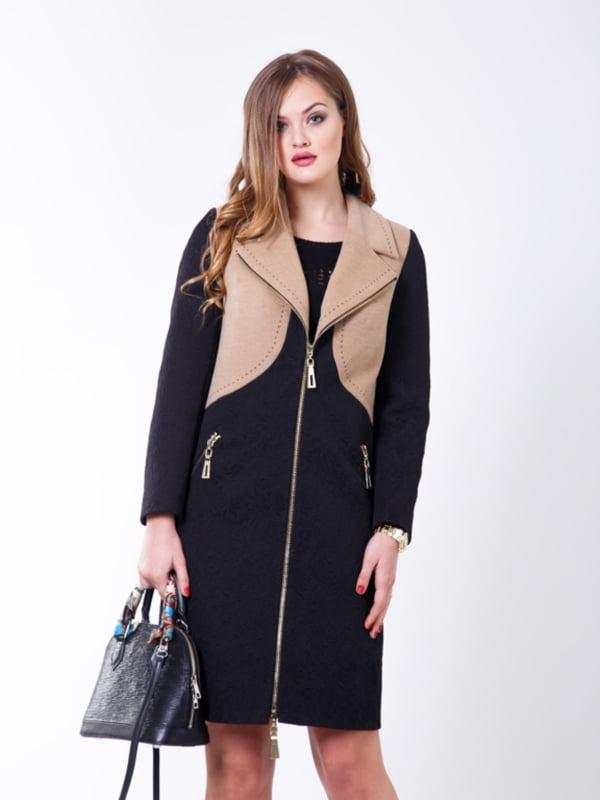 Пальто черно-бежевое | 5179981