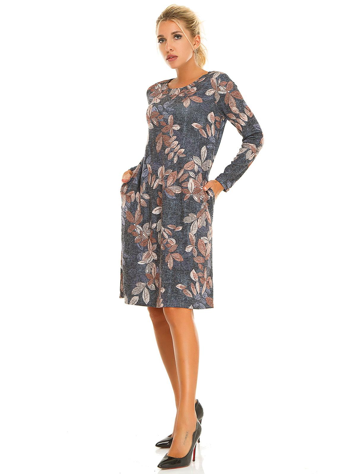Сукня темно-синя в принт | 5181206