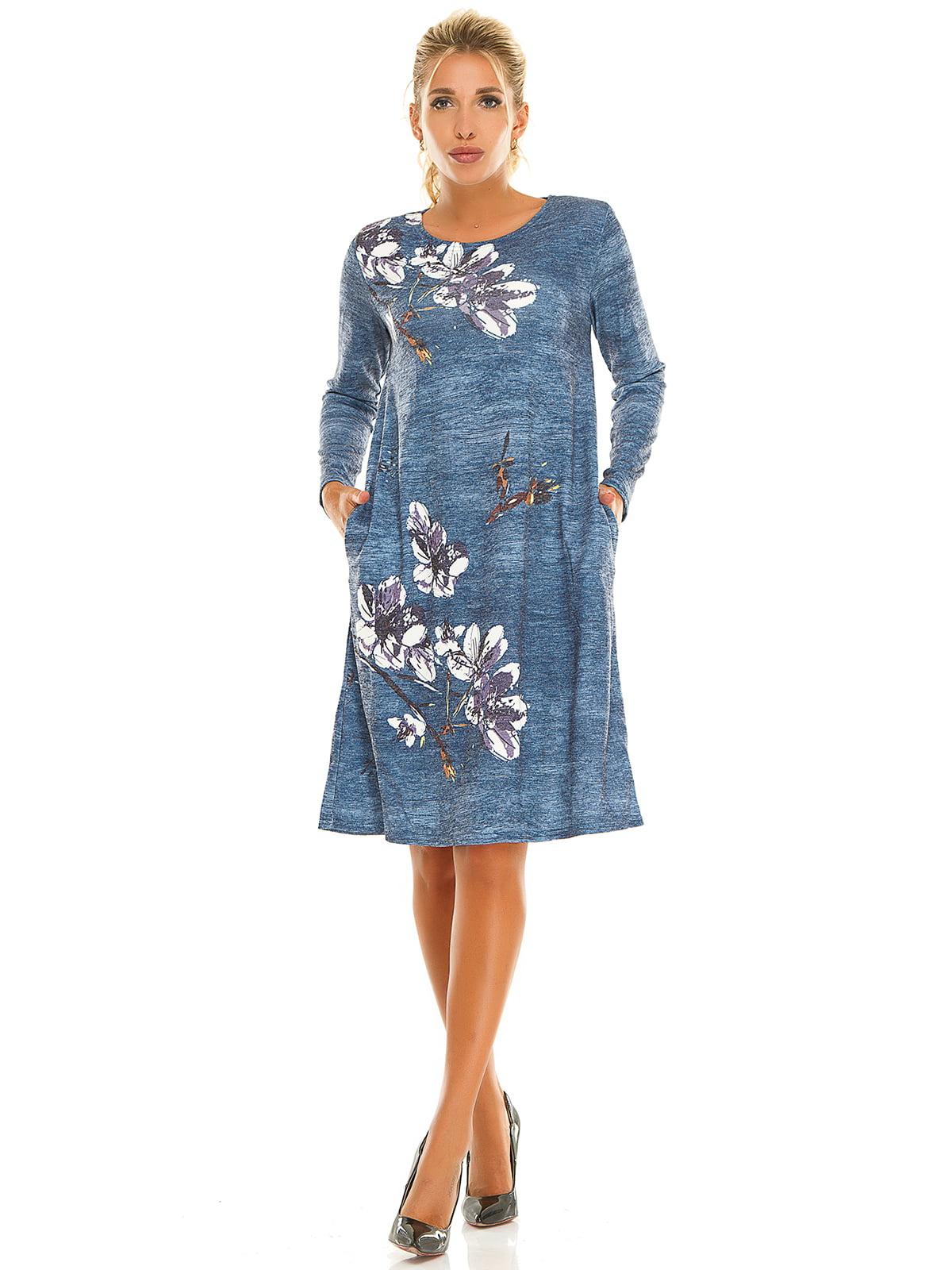 Платье синее с принтом | 5181209