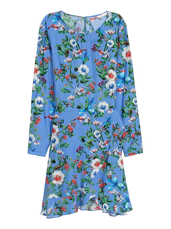 Сукня блакитна в квітковий принт | 5185234