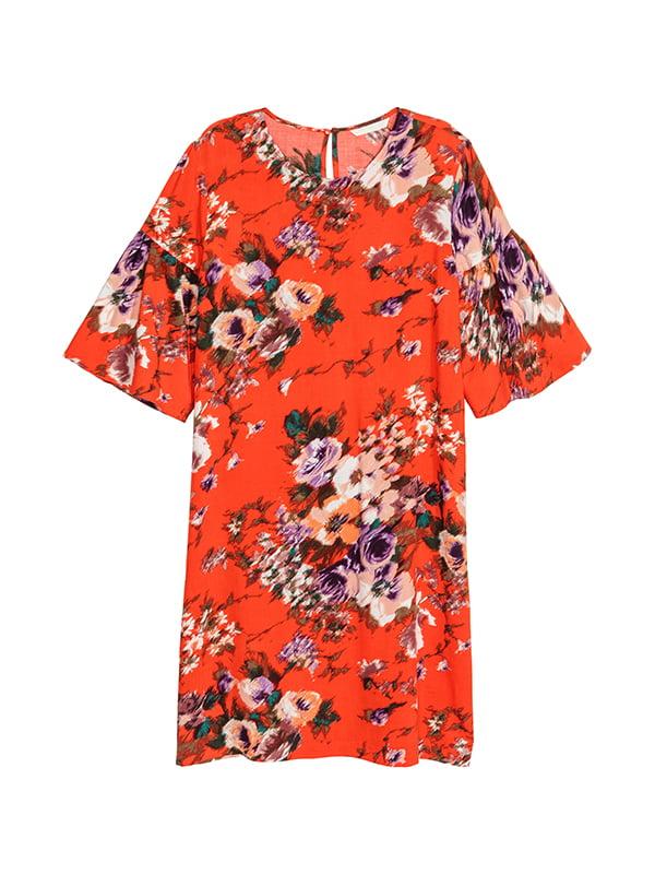 Платье красное в цветочный принт | 5185277