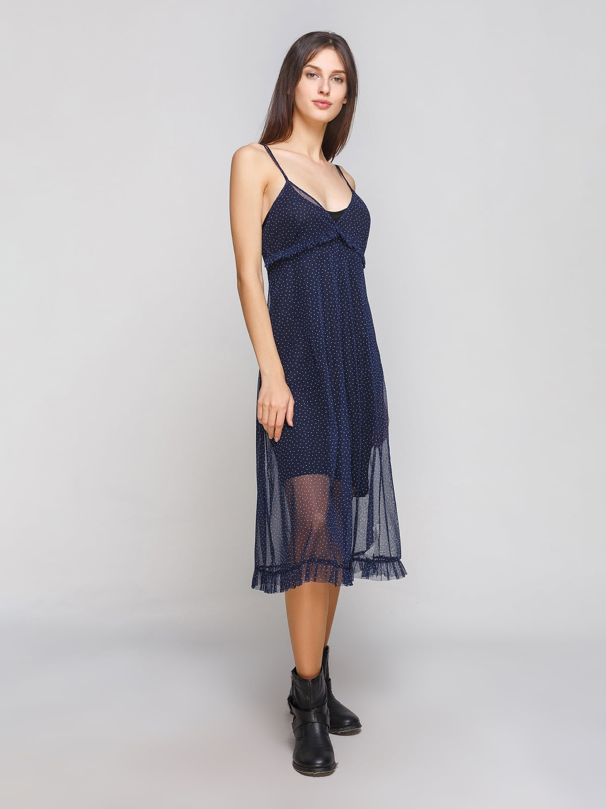 Сукня напівпрозора синя в горох | 4875922
