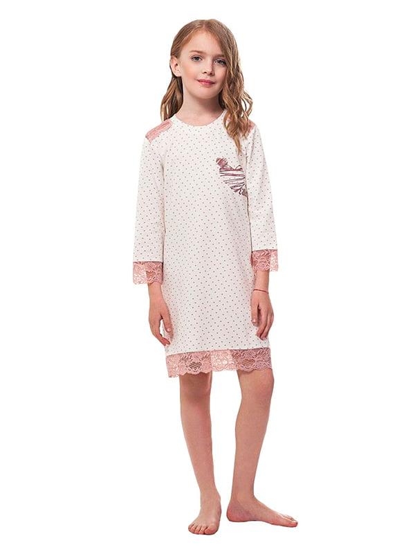 Ночная рубашка пудрового цвета в горошек | 5182898