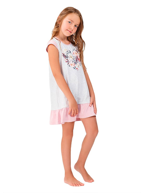 Ночная рубашка серая с принтом | 5182900