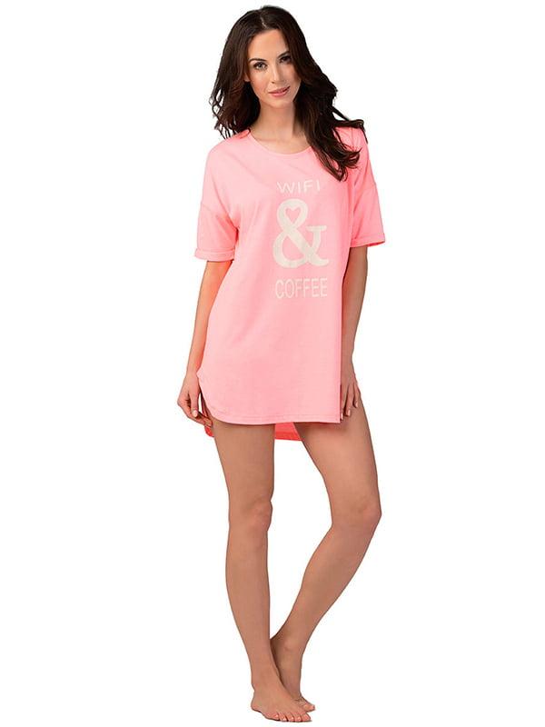 Ночная рубашка розовая с принтом   5192014
