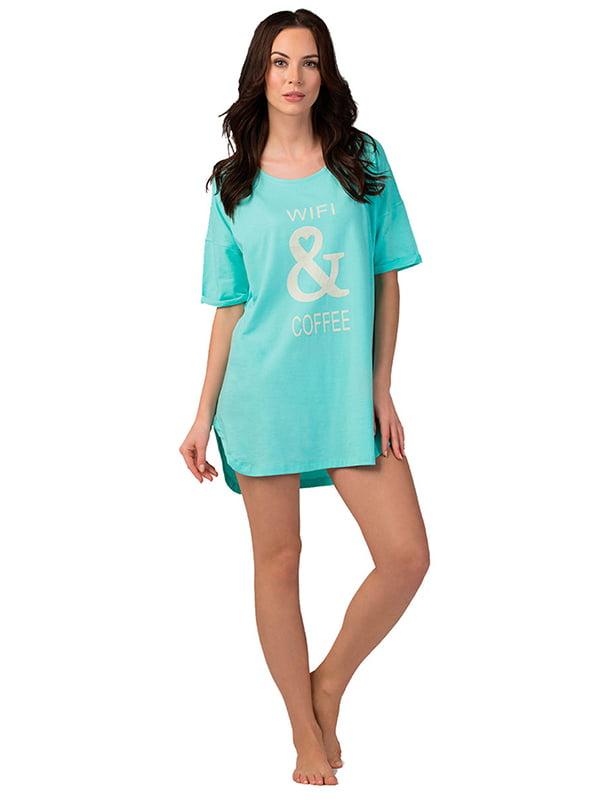 Ночная рубашка бирюзовая с принтом   5192016