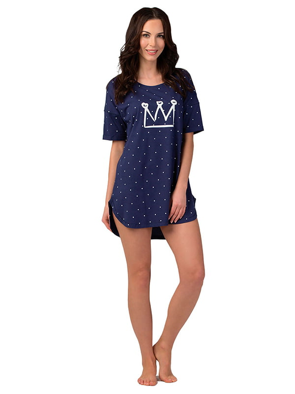 Ночная рубашка синяя с принтом   5192020