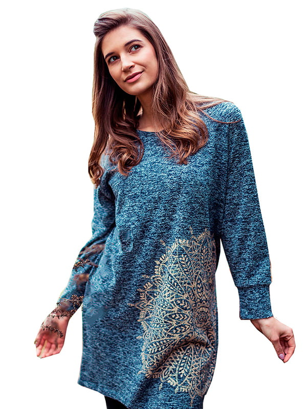 Платье синее с принтом | 5192135